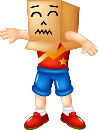 Funny Boy Wearing Cardboard Box On His Head Cartoon for your design