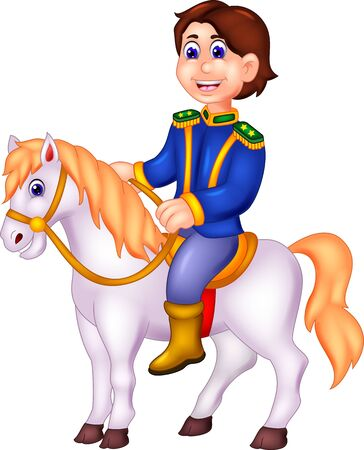 Funny Prince In Blue Suit Riding On White Horse Cartoon for your design