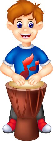 Funny Boy Playing Brown Percussion Cartoon for your design