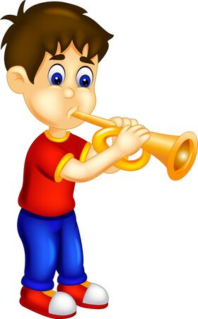 Funny Boy In Red Shirt Playing Trumpet Cartoon for your design Ilustração