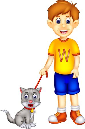 Cute Boy In Yellow Shirt With Grey Cat Cartoon for your design