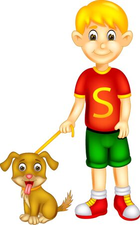 Funny Boy In Red Shirt With Brown Dog Cartoon for your design