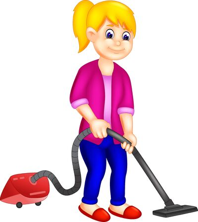 Funny Girl In Purple Shirt With Vacuum Cleaner Cartoon for your design Ilustrace