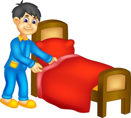 Funny Boy In Blue Pajama With Bed Cartoon for your design