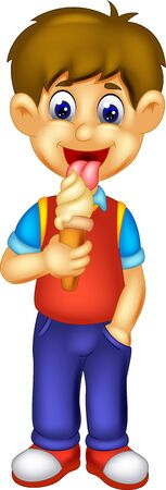 Funny Boy Eating Ice Cream Cartoon for your design