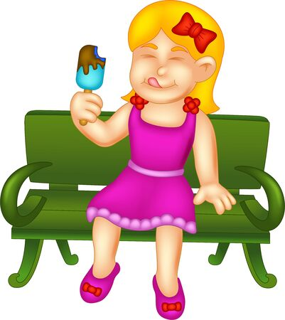 Cute Girl In Purple Dress Eating Ice Cream And Sitting On Green Chair Cartoon for your design