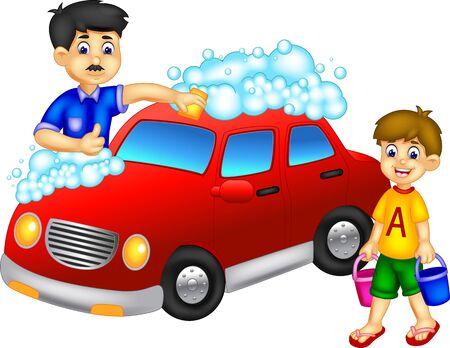 Padre e hijo frescos lavando dibujos animados de coche rojo para su diseño