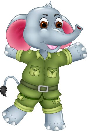Cute Grey Elephant In Green Uniform Cartoon for your design