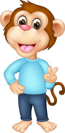 Cool Brown Monkey In Blue Shirt Cartoon for your design