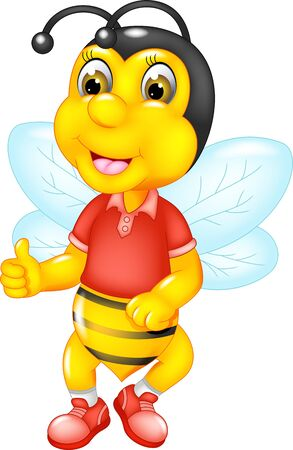 Funny Yellow Bee In Red Shirt Cartoon for your design