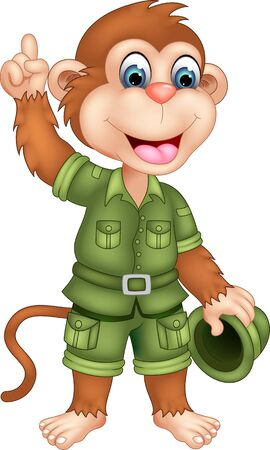 Funny Brown Monkey In Green Uniform Cartoon for your design