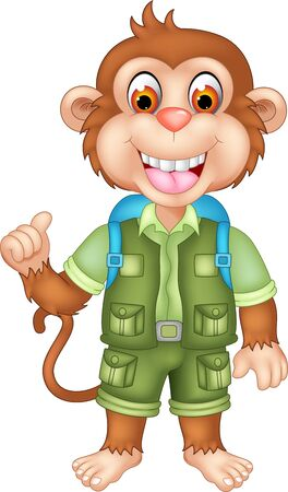 Cool Brown Monkey In Green Uniform With Blue Backpack Cartoon for your design Ilustração