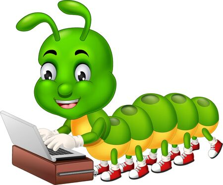Cool Green caterpillar With Red Shoes playing laptop on brown suitcase Cartoon for your design Ilustración de vector