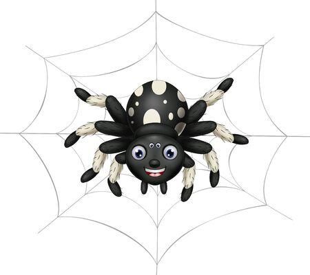 Cool Black White Spider On Its Spider Web Cartoon for your design Ilustração