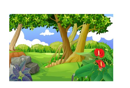 Landscape View With Hill, Flower, And Trees Cartoon for your design