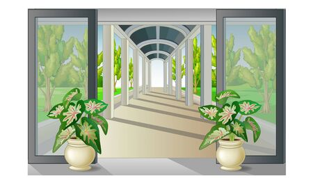 Cool Terrace With Window Glass And Trees Cartoon for your design Zdjęcie Seryjne - 134534663