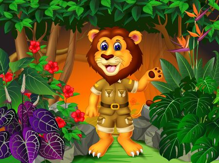Funny Lion In Jungle With Tropical Plants Cartoon Ilustracja