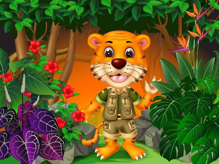 Smiling Tiger In Jungle With Tropical Plants Cartoon