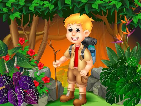 Adventure Boy In The Jungle With Tropical Plants Cartoon