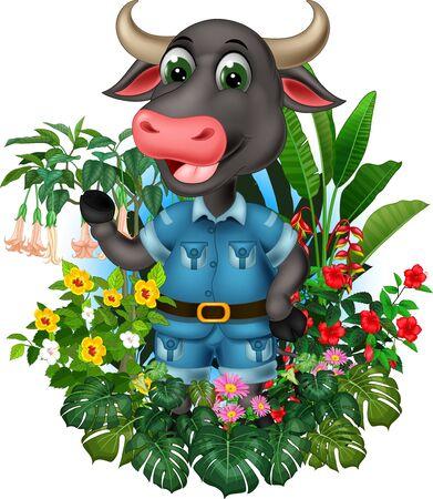 Funny Grey Buffalo With Tropical Plants Cartoon Set