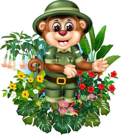Funny Brown Monkey With Tropical Plants Cartoon Set