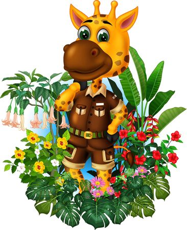 Funny Brown Giraffe With Tropical Plants Cartoon Set