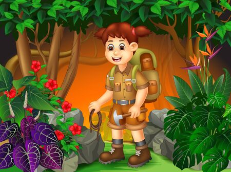 Funny Adventure Backpacker Girl In the Forest With Tropical Plants Cartoon Set