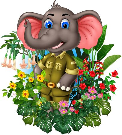 Funny Grey Elephant With Tropical Plants Flowers Cartoon