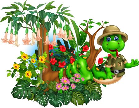 Funny Green Snake On Tree Branch With Tropical Plants Flower Cartoon Ilustracja