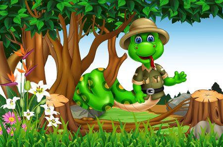 Serpente verde divertente sul ramo di un albero con fiori Cartoon
