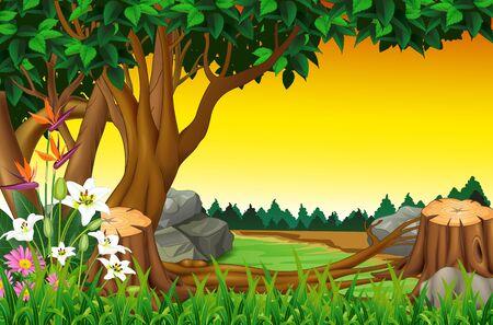 Bella vista del paesaggio con erba collina, alberi e fiori Cartoon