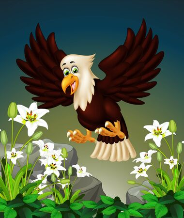Cool Flying Eagle On the Top of Rocks And White Ivy Flower Cartoon