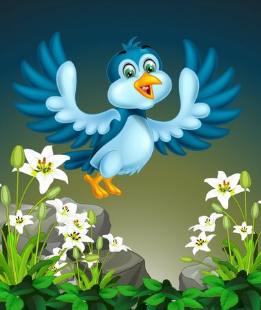 Flying Blue Bird On the Top of Rocks And White Ivy Flower Cartoon