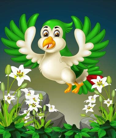 Funny Flying Green Bird on the Top of White Ivy Flower Cartoon Ilustracja