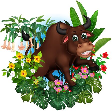 Funny Brown Bull With Tropical Plants Cartoon