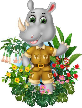 Funny Grey Rhinoceros With Tropical Plants Cartoon Ilustracja
