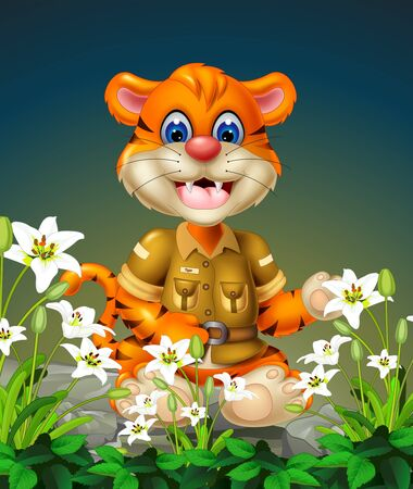 Funny Tiger With White Ivy Flower cartoon