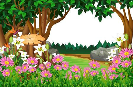 Beautiful Landscape Forest View With Trees And Flower Cartoon Ilustracja