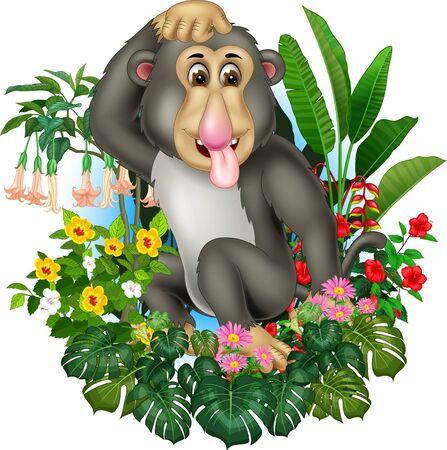 Funny Grey Monkey With Tropical Plants Cartoon