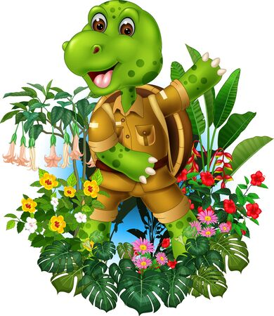 Funny Green Turtle In Brown Shirt With Tropical Plants Cartoon Ilustracja