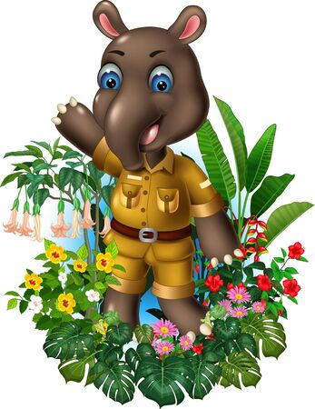 Funny Brown Tapir Standing With Tropical Plant Flower Cartoon Ilustracja