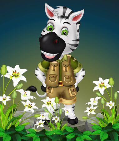 Funny White Zebra Standing On The Top of Rocks With White Ivy Flower Cartoon