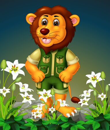 Funny Brown Lion Standing On The Top of Rock With White Ivy Flower Cartoon Ilustracja