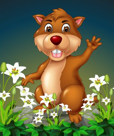 Funny Brown Beaver On Top of Rocks With White Ivy Flower Cartoon