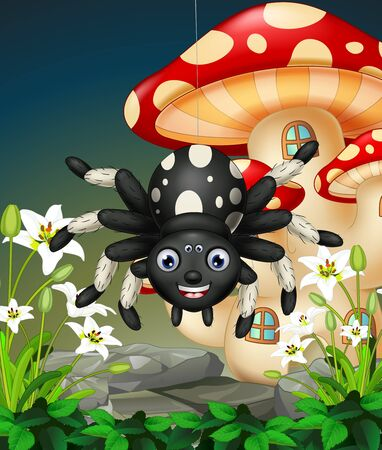 Funny Black Spider On Top of Rock With White Flower And Red Mushroom House Cartoon