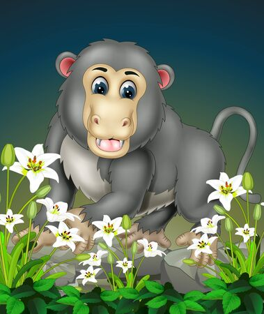 Funny Grey Monkey On The Top of Rock With White Ivy Flower Cartoon