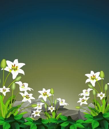 Cool Flower With Rock View Cartoon