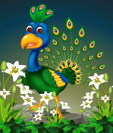 Beautiful Blue Green Peacock With White Ivy Flower Cartoon Ilustracja