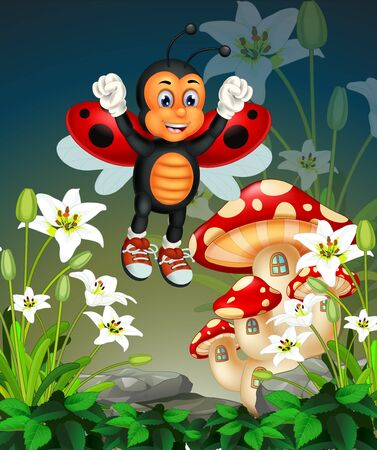 Funny Flying Red Ladybug With White Ivy Flower And Mushroom House Cartoon
