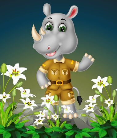 Funny Grey Rhinoceros On the Top of Rock With White Ivy Flower Cartoon